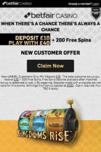 Betfair Casino Top 5 Exclusive New Player Bonus Codes