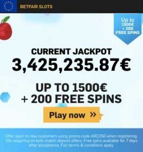 Betfair free spins bonus codes for European players